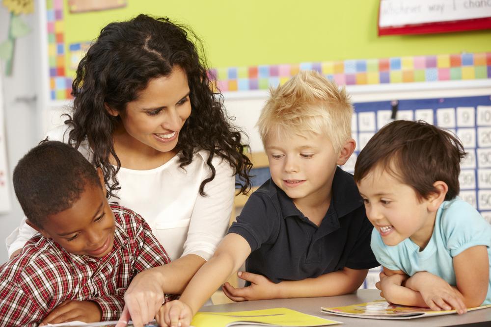 a teacher with kids