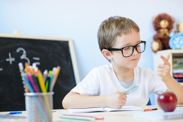 a boy in a math class
