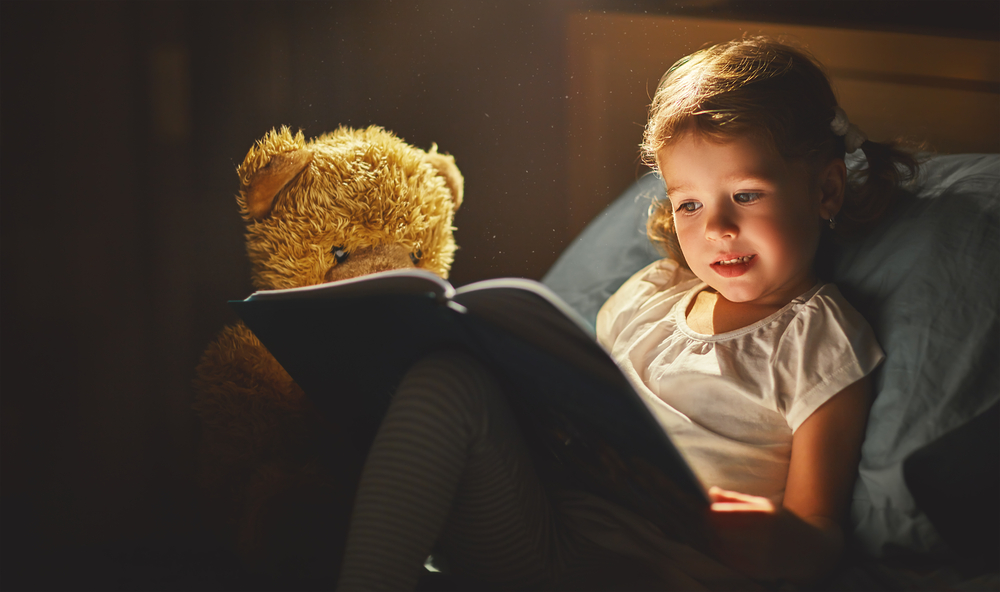 a girl is reading