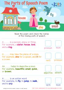 Parts of speech printable worksheet