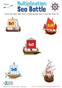 Sea battle: multiplication worksheet