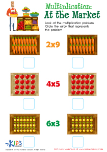 At the market - multiplication worksheet for 3rd grade