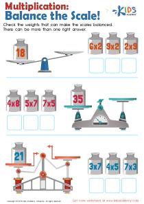 Balance the scales multiplication worksheet