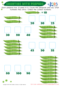 Number worksheet: counting with peapods