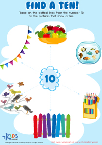Kindergarten math worksheet: find a ten