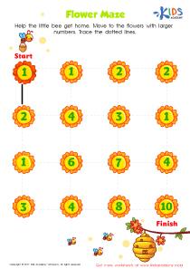Number maze for kindergarten