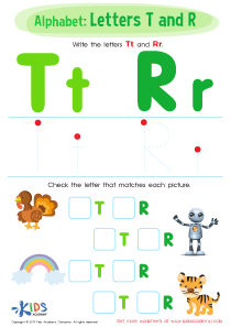 Letters T and R Worksheet Preview
