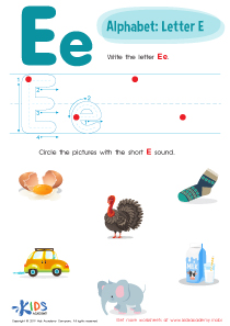 Letter E Tracing Worksheet Preview