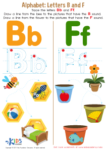 Letters B and F Tracing Worksheet Preview