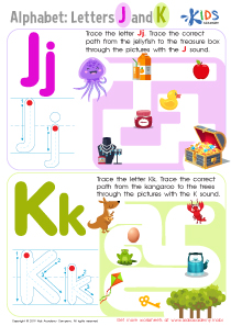 Letters J and K Tracing Worksheet Preview