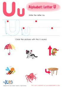 Letter U Tracing Worksheet Preview
