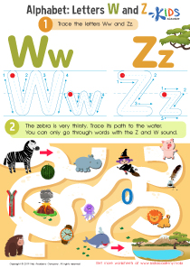 Letters W and Z Tracing Worksheet Preview