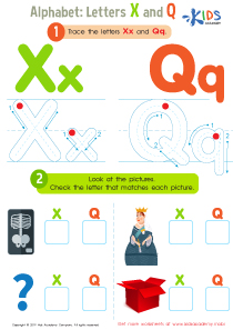 Letters X and Q Tracing Worksheet Preview