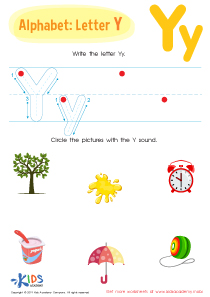 Letter Y Tracing Worksheet Preview