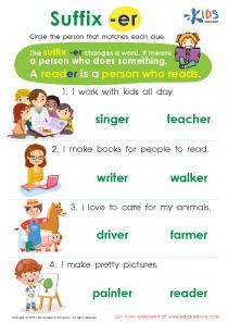 Suffix er printable worksheet