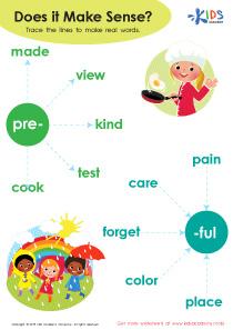 Prefix pre and suffix ful worksheet