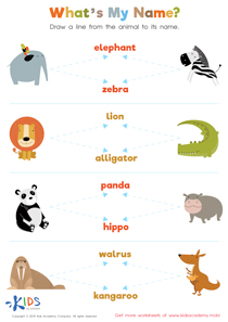 Animals and their names worksheet