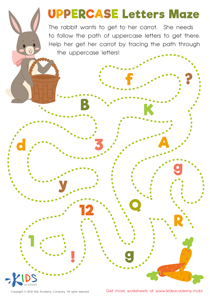 Uppercase Letters Maze Worksheet Preview