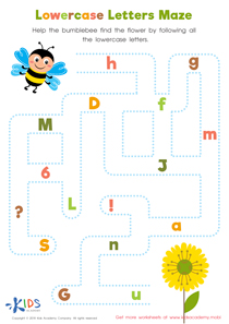Lowercase Letters Maze Worksheet Preview