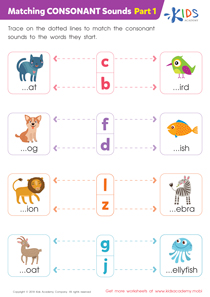 Matching Consonant Sounds - Part 1 Worksheet Preview