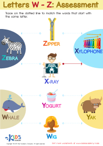 Letters W-Z Tracing  Worksheet Preview