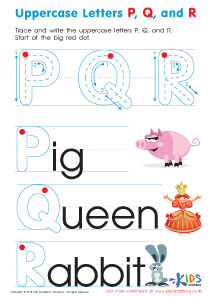 Uppercase Letters P, Q, and R Worksheet Preview