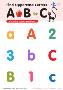Find Uppercase Letters A, B, and C Worksheet Preview