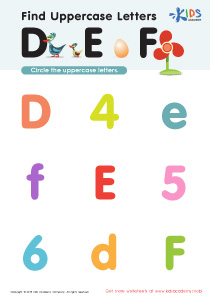 Find Uppercase Letters D, E, and F Worksheet Preview