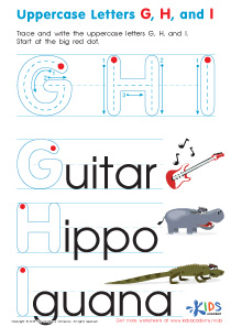 Uppercase Letters G, H, and I Worksheet Preview