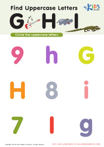 Find Uppercase Letters G, H, and I Worksheet Preview