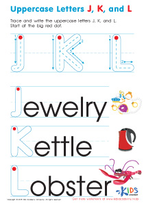 Uppercase Letters J, K, and L Worksheet Preview