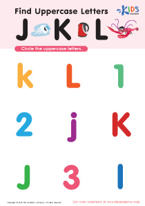 Find Uppercase Letters J, K, and L Worksheet Preview