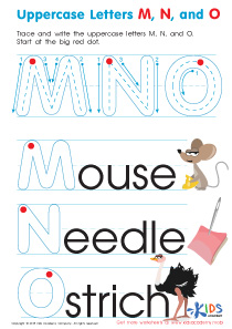 Uppercase Letters M, N, and O Worksheet Preview