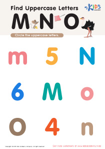 Find Uppercase Letters M, N, and O Worksheet Preview