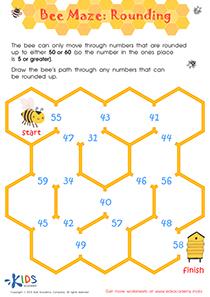 Bee maze rounding worksheet
