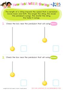 Pendulum experiment worksheet for 3rd grade