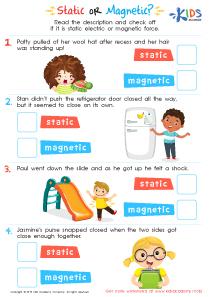 Static or magnetic printable worksheet