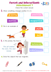 Forces and interactions printable worksheet