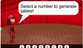 Ninja Math Tables