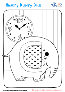 Printable Coloring Page: Hickory Dickory Dock