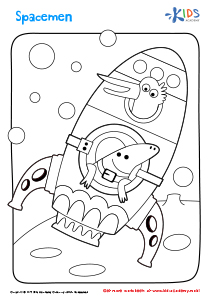 Printable Coloring Page: Spacemen