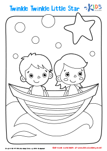 Printable Coloring Page: Twinkle Twinkle Little Star