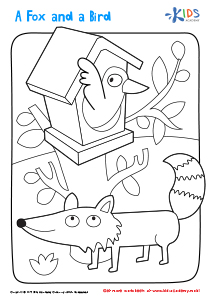 Printable Coloring Page: a fox and bird