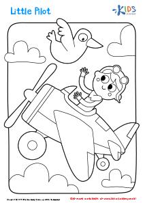 Printable Coloring Page: Little Pilot