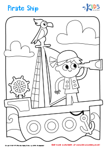 Printable Coloring Page: Pirate Ship