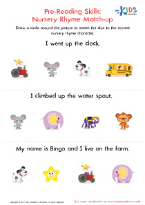 Nursery rhyme match-up worksheet