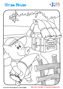 Straw House printable coloring page