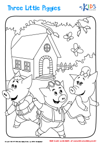 Three Little Piggies printable coloring page