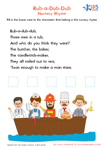 Printable nursery rhyme: Rub a Dub Dub