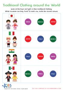 Traditional Clothing Printable Worksheet